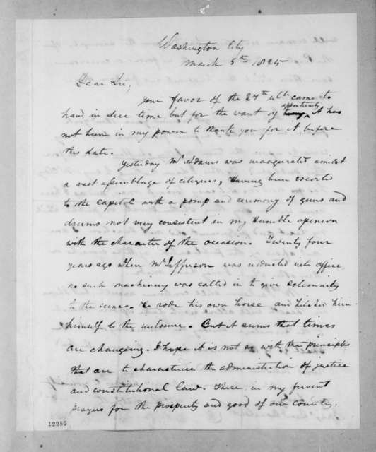 Andrew Jackson to Samuel Swartwout, March 5, 1825