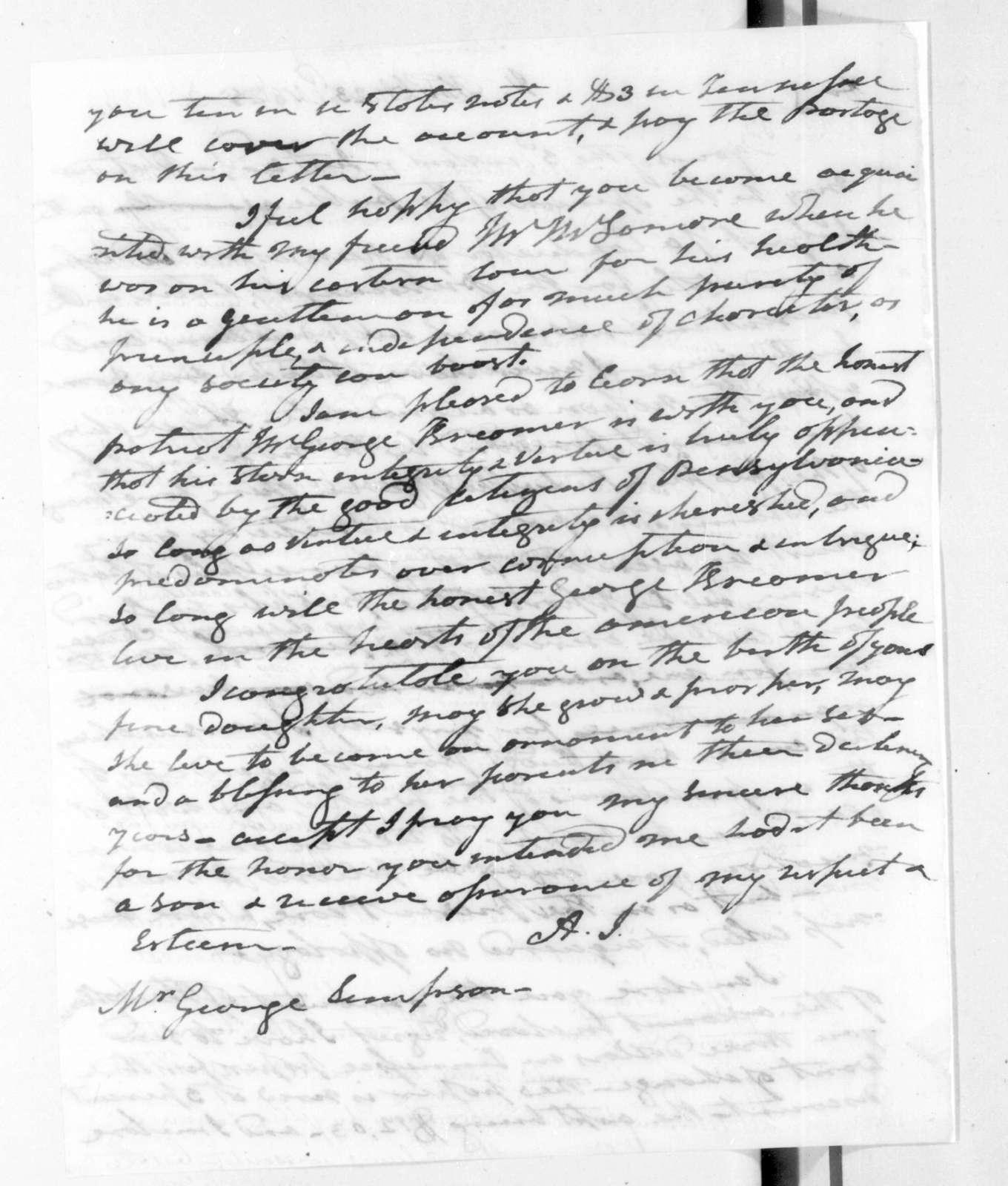 Andrew Jackson to Stephen Simpson, November 23, 1825