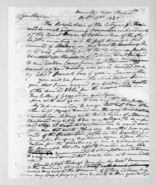 Andrew Jackson to William Owen et al., October 17, 1825