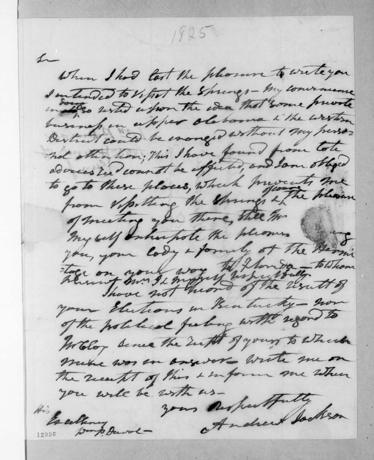 Andrew Jackson to William Pope Duval, July 5, 1825