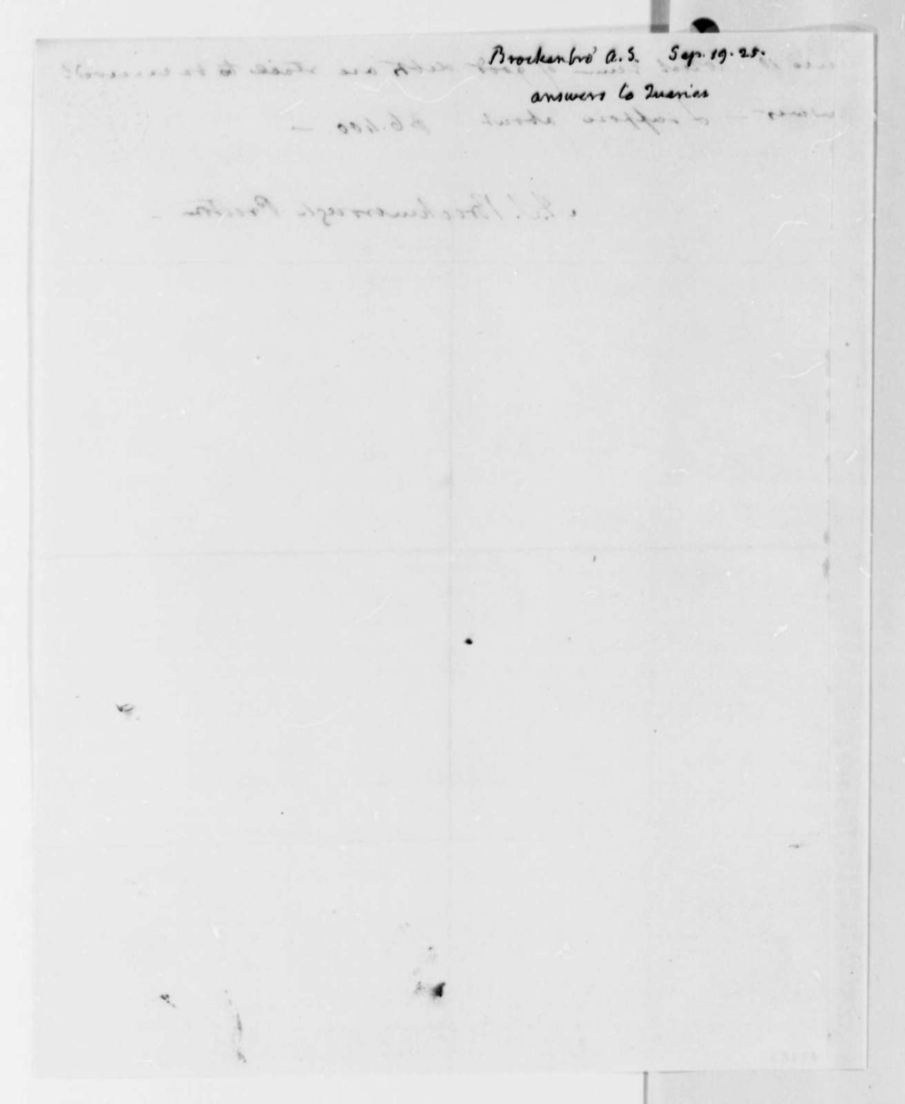 Arthur S. Brockenbrough, September 19, 1825, Queries on University of Virginia Expenses