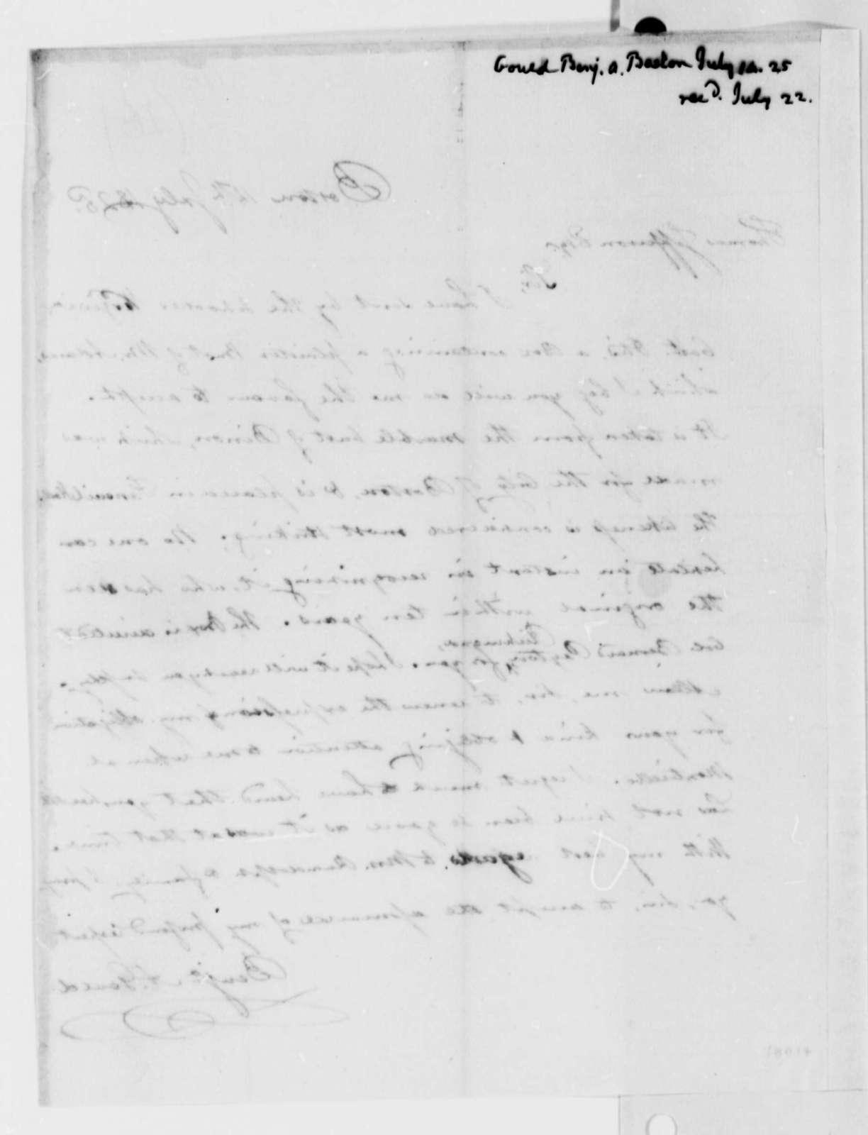 Benjamin A. Gould to Thomas Jefferson, July 14, 1825
