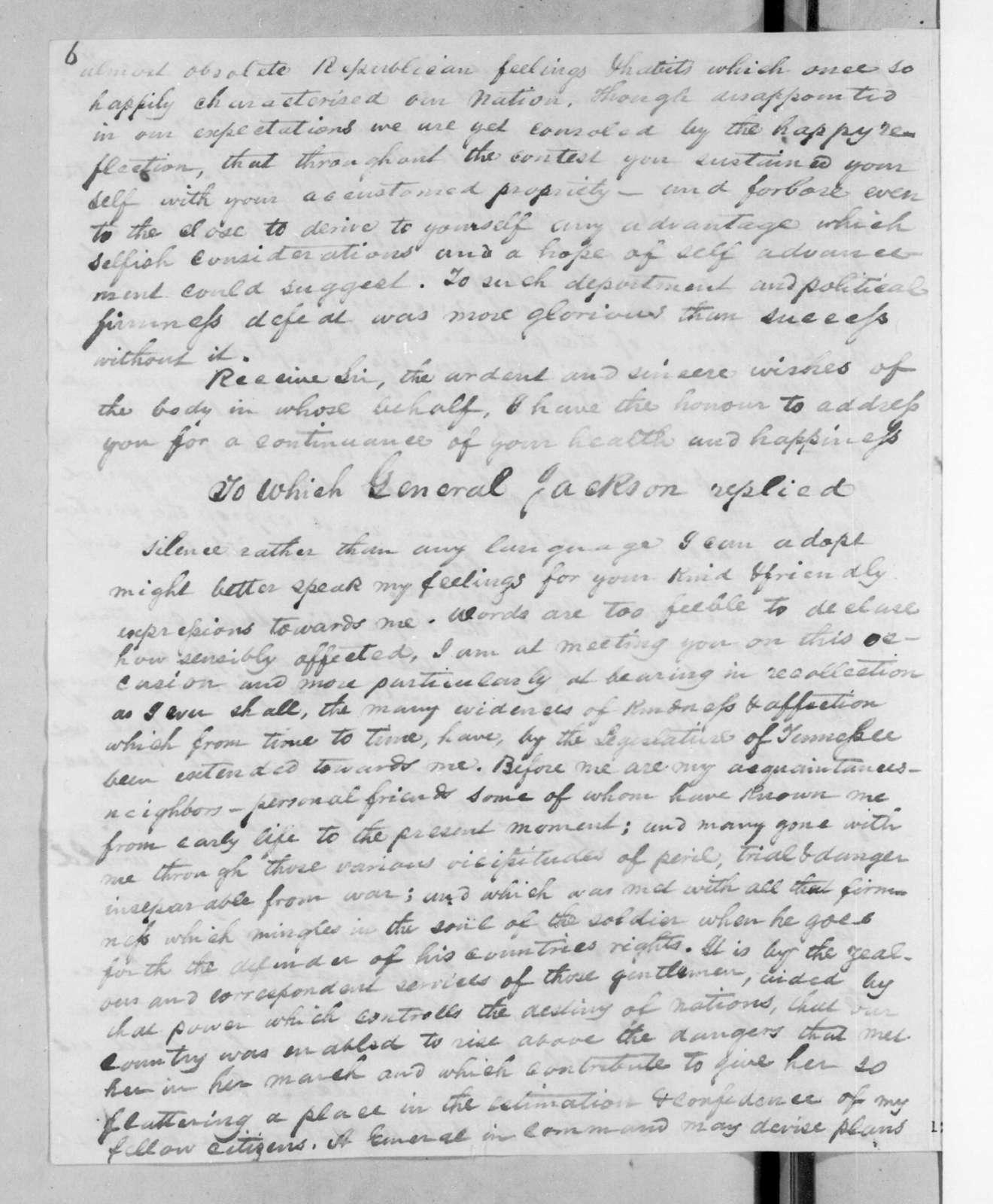 Benjamin Franklin Currey to Andrew Jackson Donelson, October 12, 1825