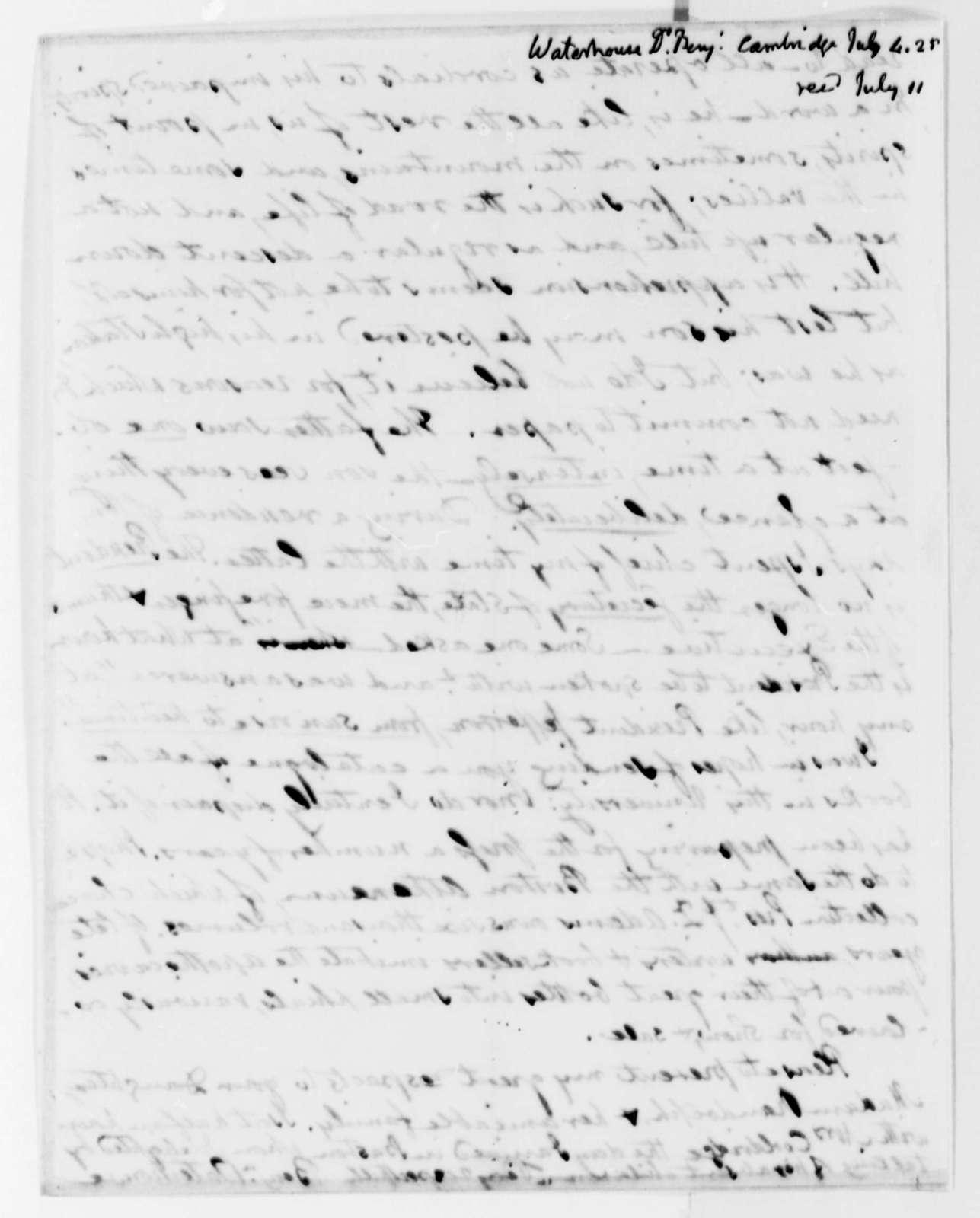 Benjamin Waterhouse to Thomas Jefferson, July 4, 1825