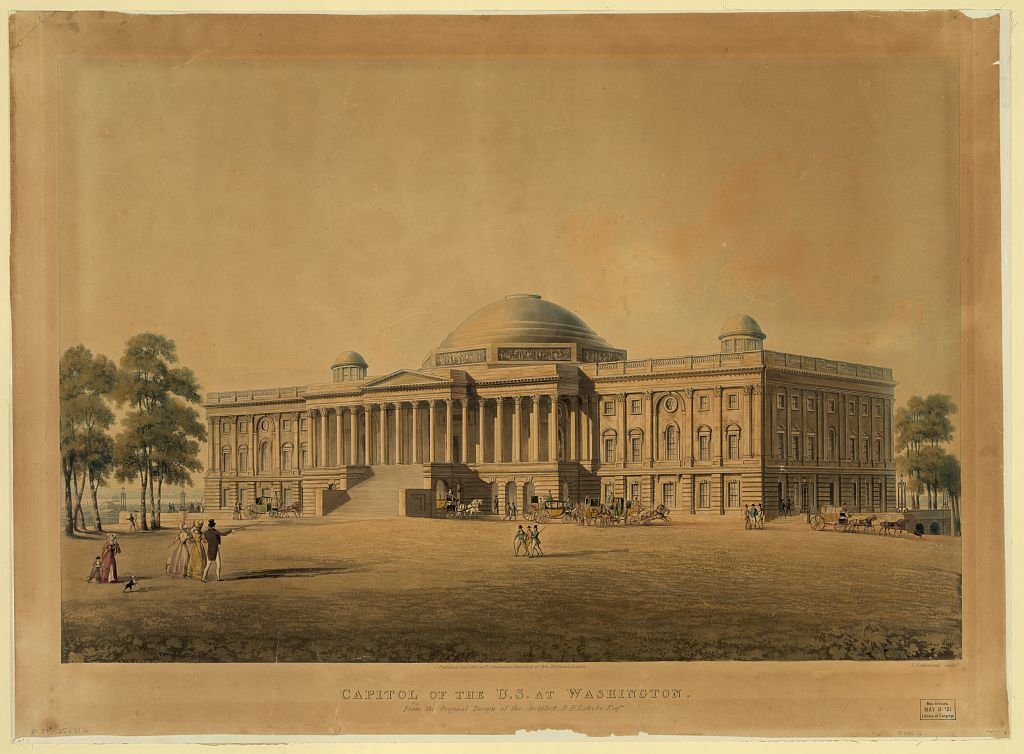 Capitol of the U.S. at Washington - from the original design of the architect, B.H. Latrobe, Esqre. / T. Sutherland sculpt.