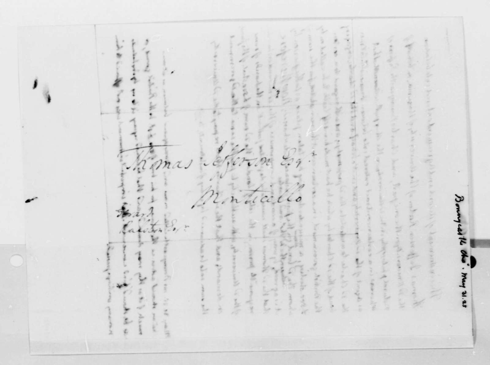 Charles Bonnycastle and Thomas Jefferson, May 31, 1825, Agreement