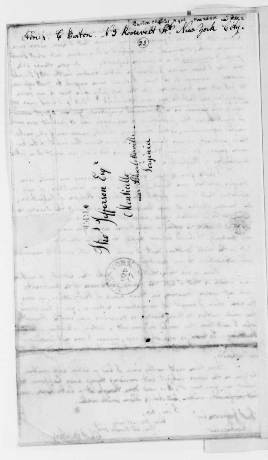 Charles Burton to Thomas Jefferson, November 26, 1825
