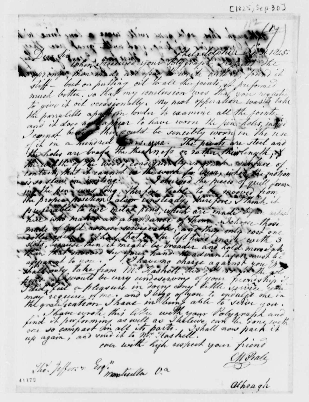 Charles Willson Peale to Thomas Jefferson, September 30, 1825