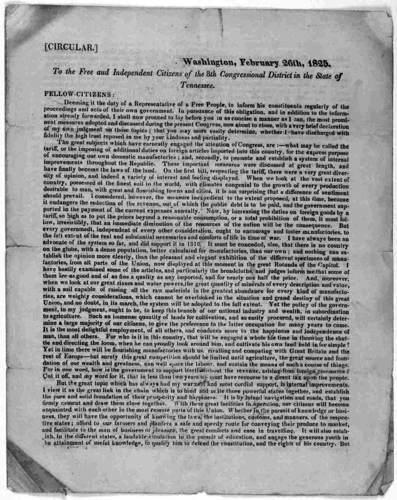 Circular. Washington, February 26th, 1825. To the free and independent citizens of the 8th Congressional district in the State of Tennessee.