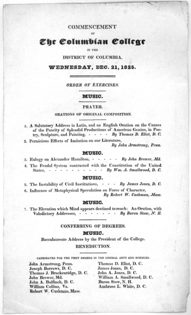 Commencement of The Columbian College in the District of Columbia, Wednesday, Dec. 21, 1825 ... [Washington, 1825].