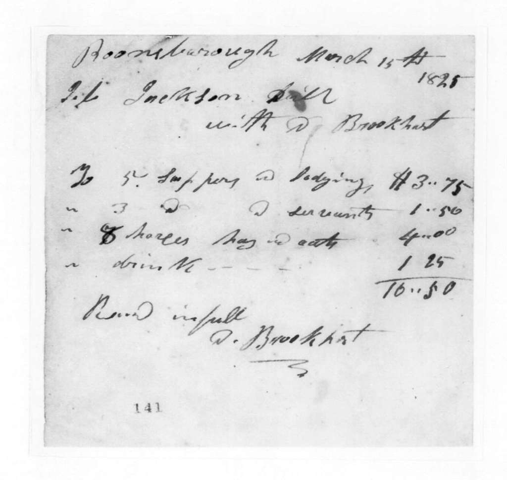 D. Brookhart to Andrew Jackson, March 15, 1825