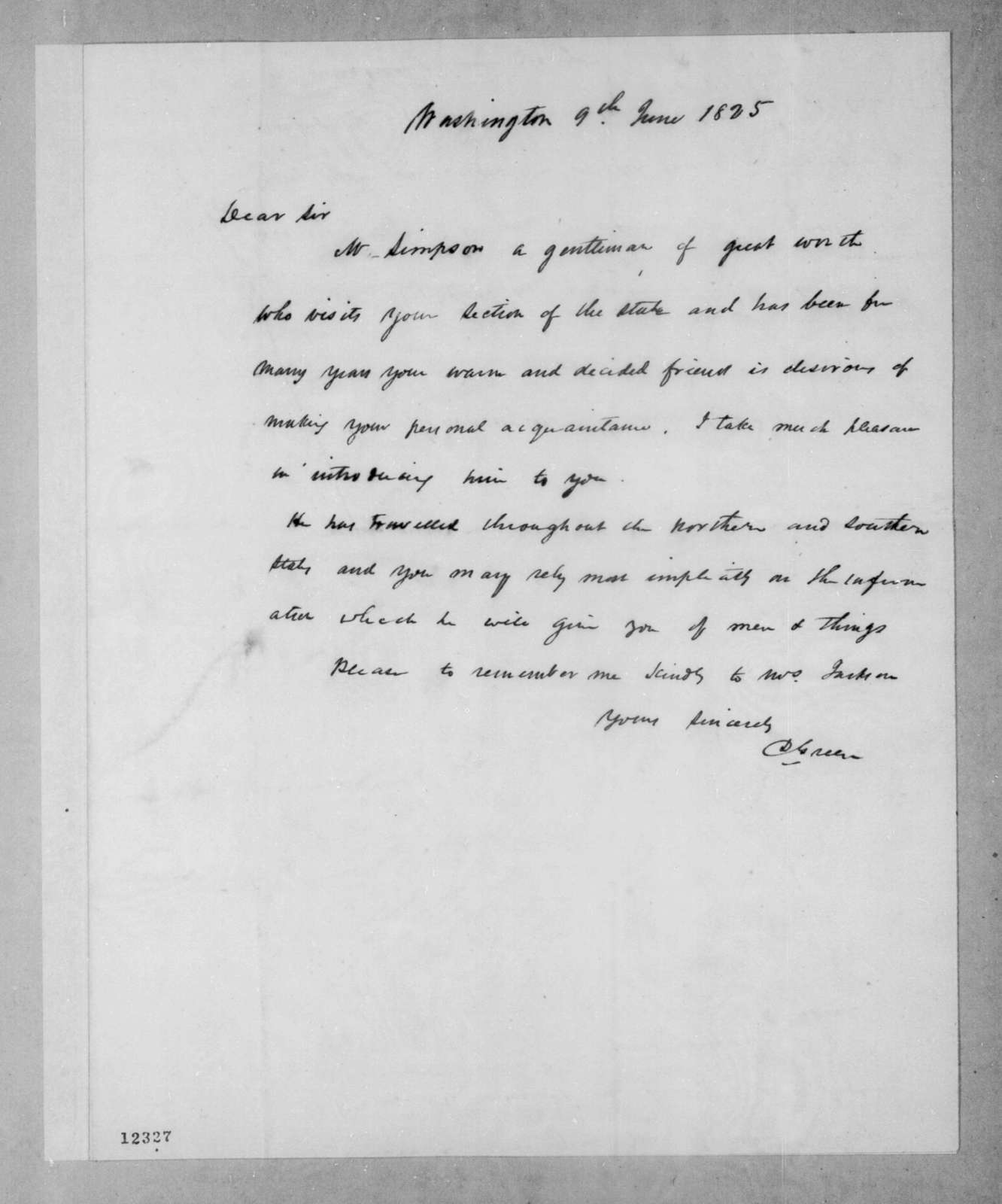 D. Green to Andrew Jackson, June 9, 1825