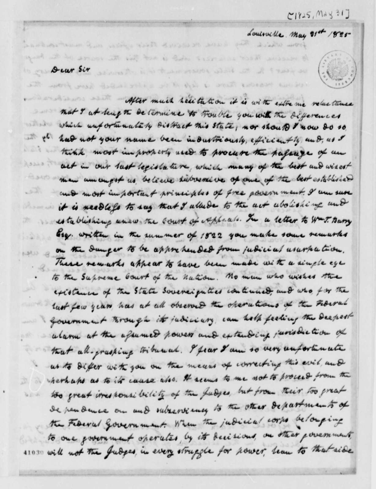 Dabney Carr Terrell to Thomas Jefferson, May 31, 1825