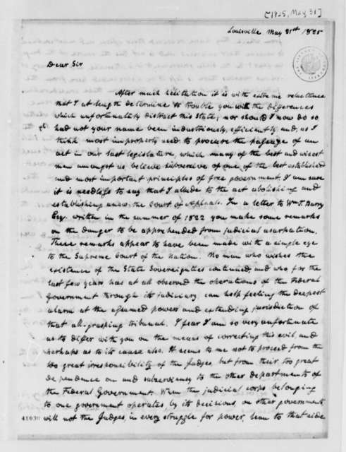 Dabney Carr Terrell to Thomas Jefferson, May 31, 1825