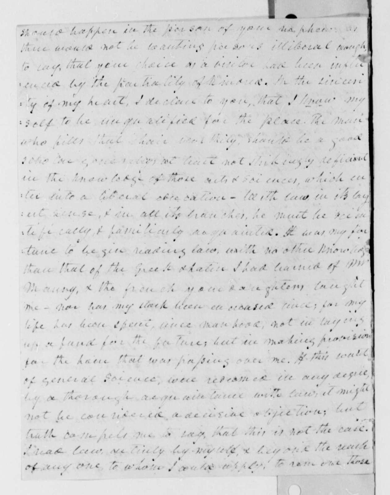 Dabney Carr to Thomas Jefferson, April 30, 1825