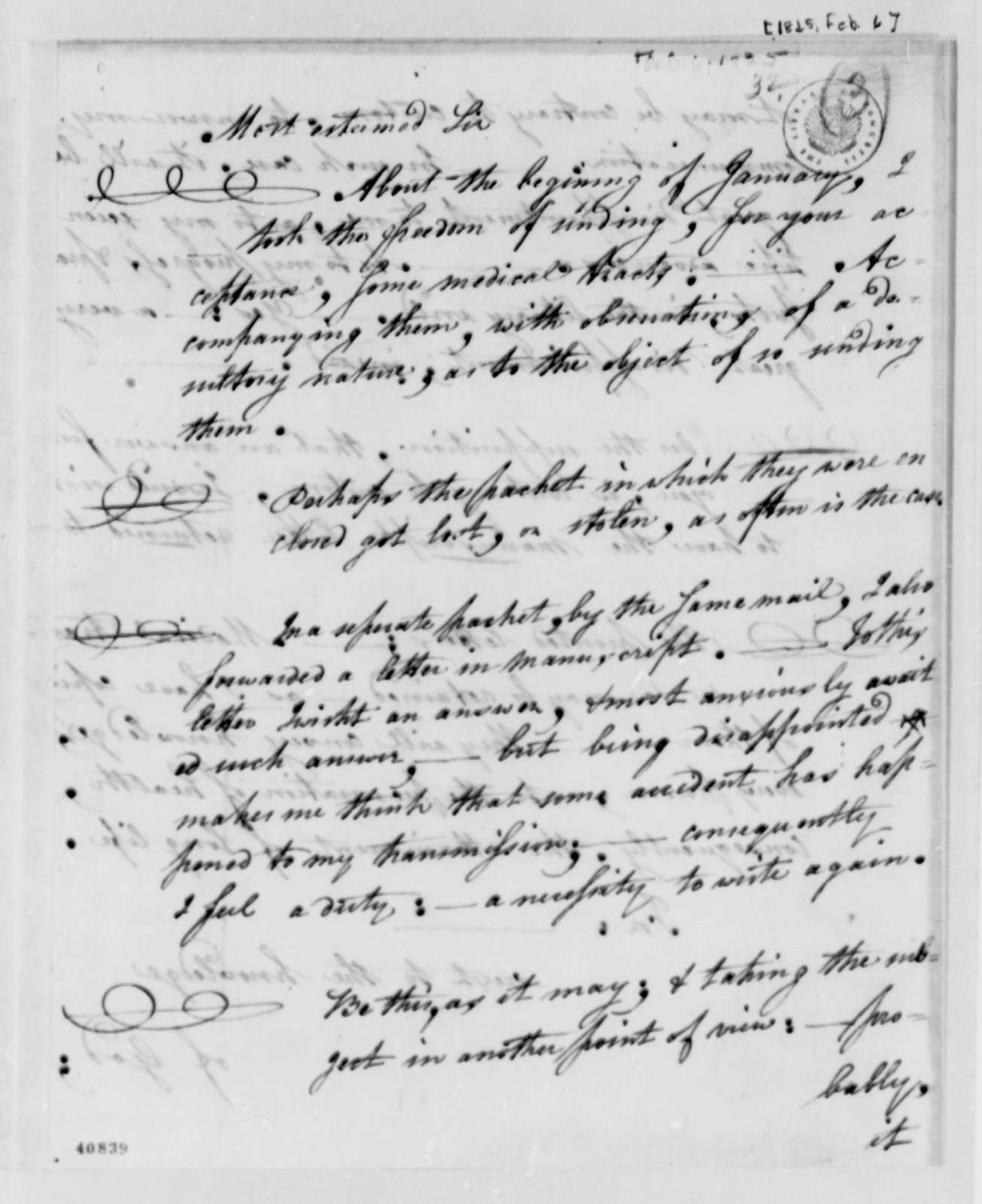 Daniel L. Green to Thomas Jefferson, February 6, 1825