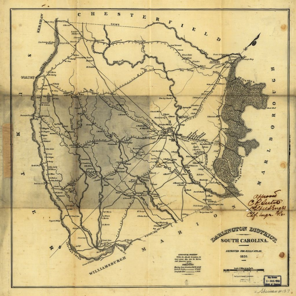Darlington District, South Carolina : improved for Mills' Atlas, 1820 ; enga by H. S. Tanner & assistants.