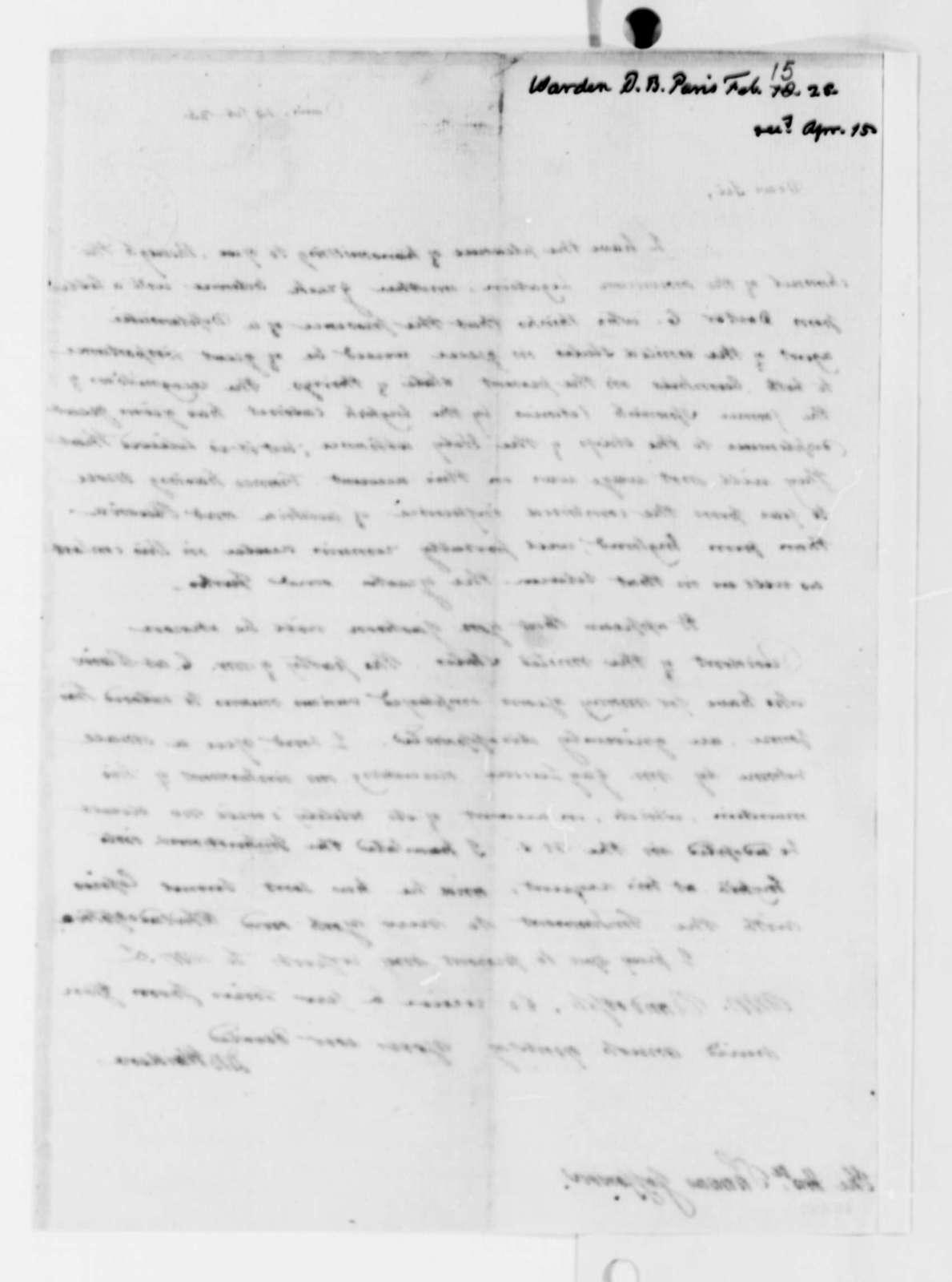 David B. Warden to Thomas Jefferson, February 15, 1825