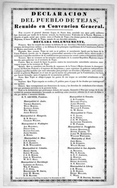 Declaration del Pueblo de Tejas, reunido enconvencion general ... En la imprenta de Baker y Bordens, San Feline de Austin 7 de Noviembre de 1835.