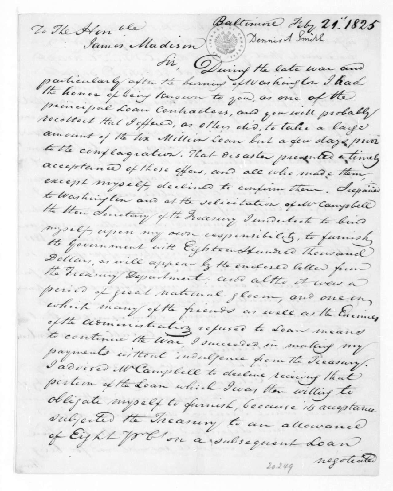 Dennis A. Smith to James Madison, February 21, 1825.