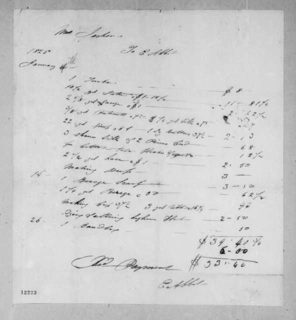 E. Abbet to Rachel Donelson Jackson, January 4, 1825