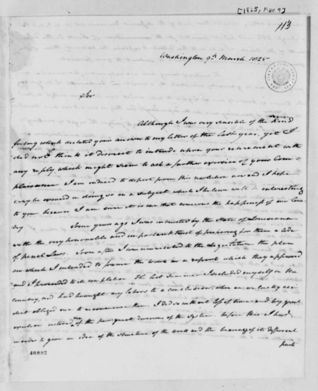 Edward Livingston to Thomas Jefferson, March 9, 1825