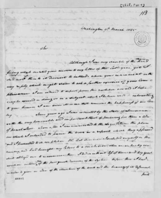 Edward Livingston to Thomas Jefferson, March 9, 1825