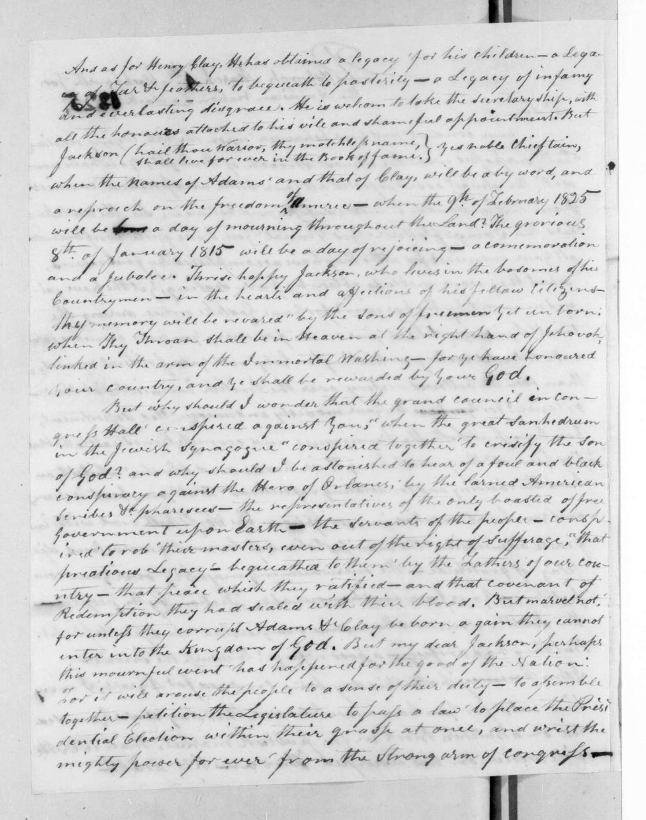 Edward Patchell to Andrew Jackson, March 4, 1825