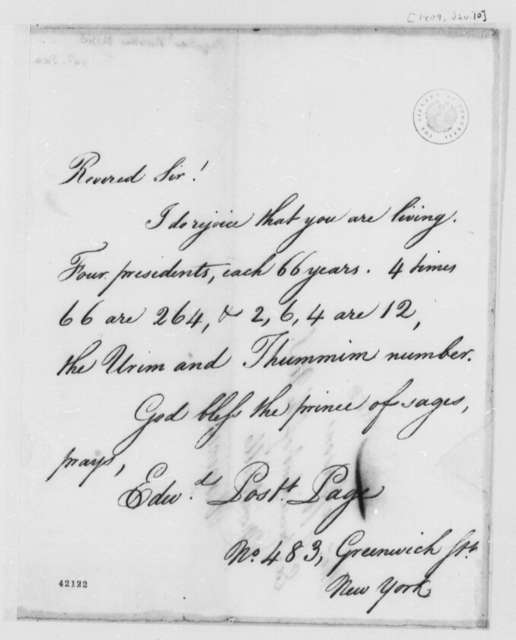 Edward Postlethwayt Page to Thomas Jefferson, January 10, 1825