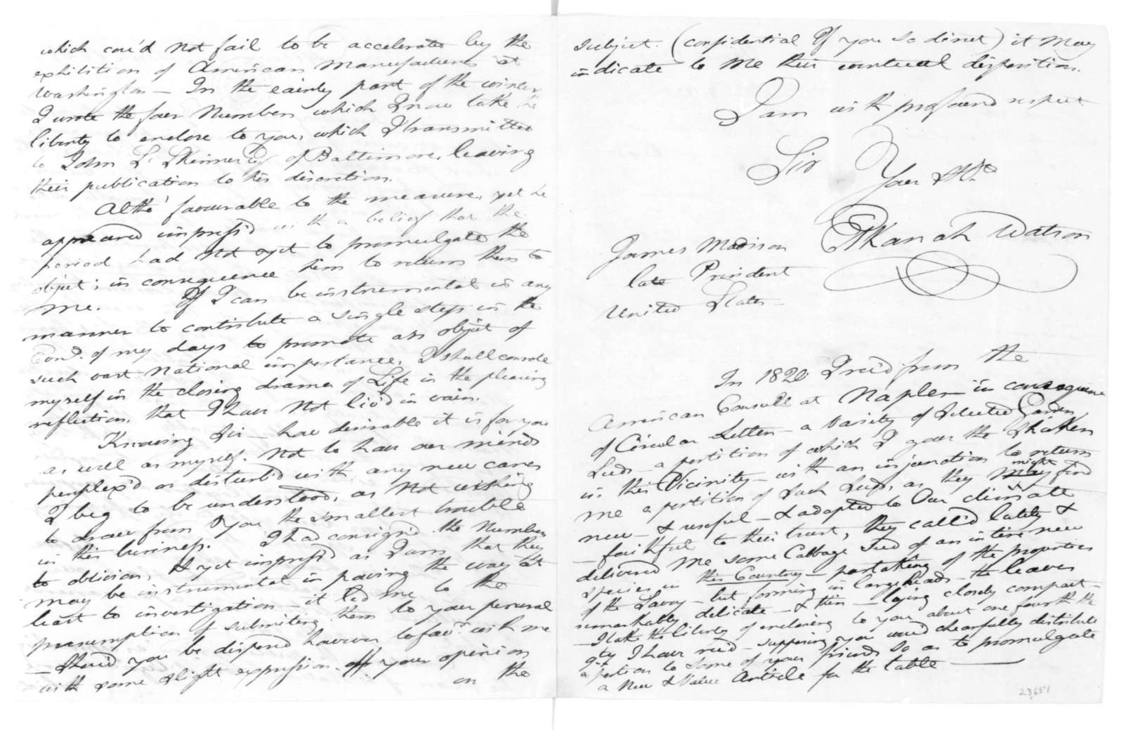 Elkanah Watson to James Madison, March 8, 1825.