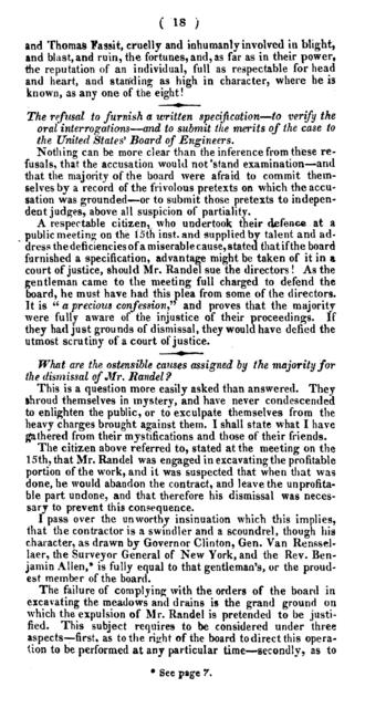 Exhibit of the shocking oppression and injustice suffered for sixteen months by John Randel, Jun., Esq., contractor for the eastern section of the Chesapeake and Delaware Canal, from Judge Wright, engineer in chief, and late majority of the Board of Directors ... whereby the contractor has been ruined, the completion of that great national work delayed one year at least, and the interests of the state and of the stockholders of course materially injured ...