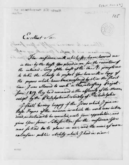 Ferdinand R. Hassler to Thomas Jefferson, November 24, 1825