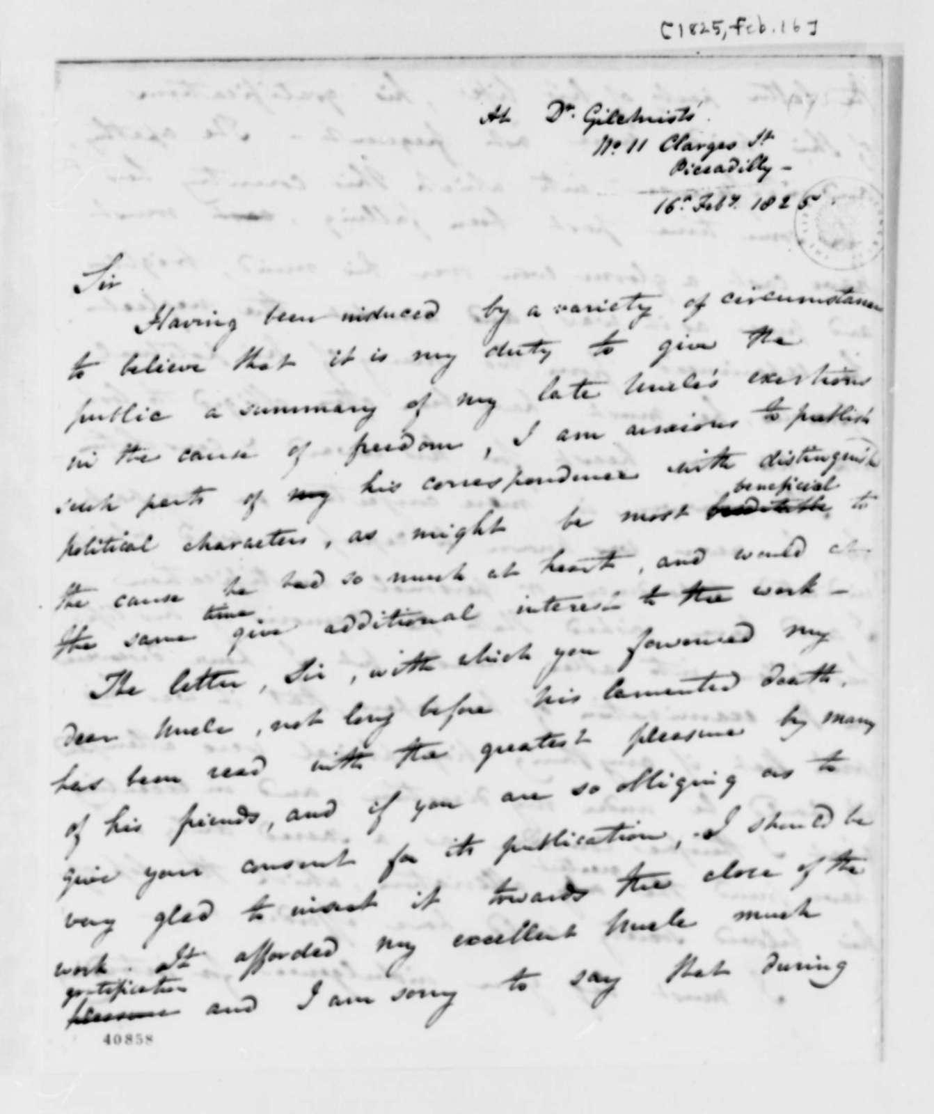 Frances D. Cartwright to Thomas Jefferson, February 16, 1825