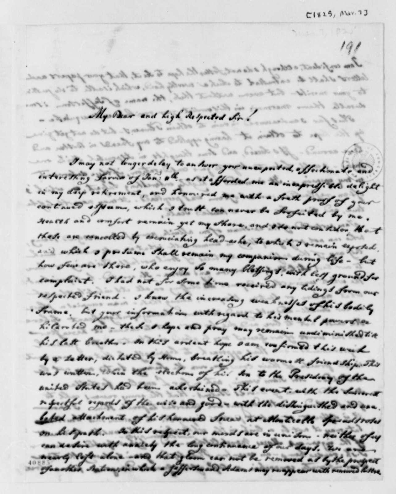 Francis A. van der Kemp to Thomas Jefferson, March 7, 1825