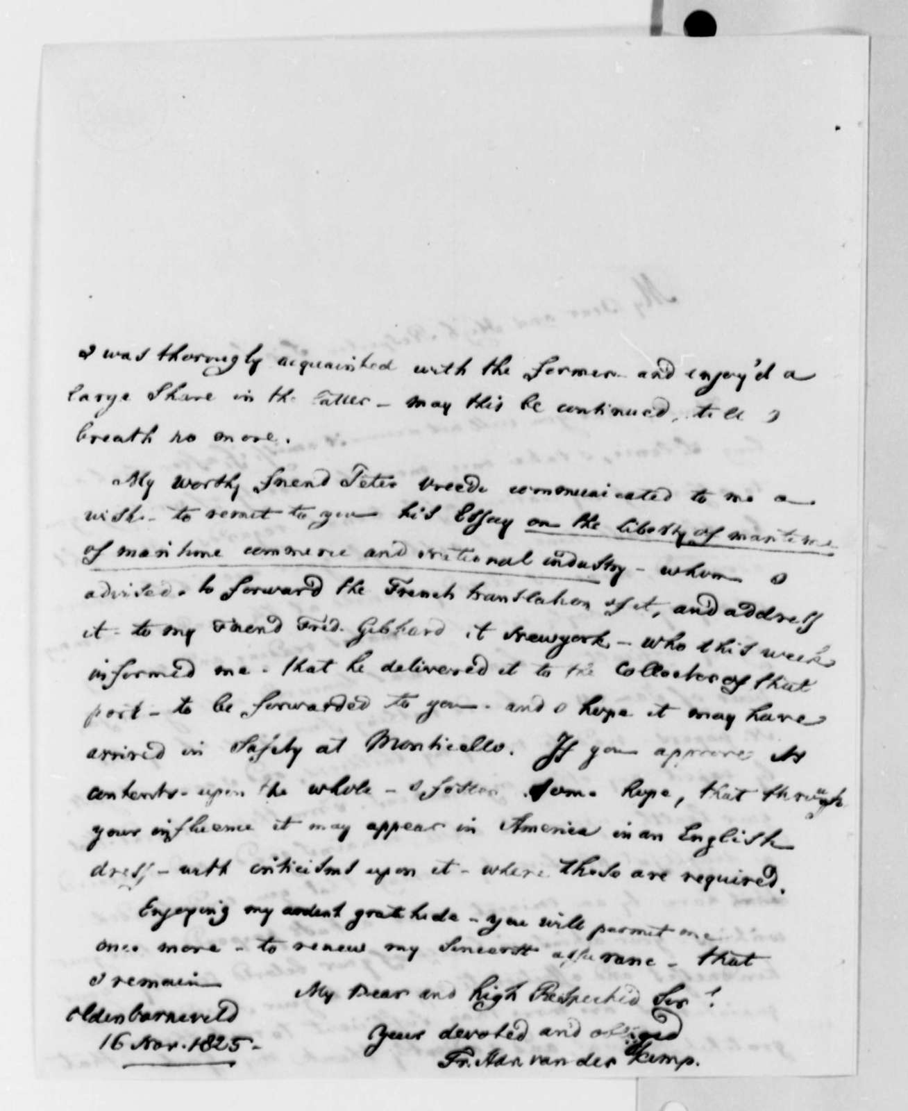 Francis A. van der Kemp to Thomas Jefferson, November 16, 1825