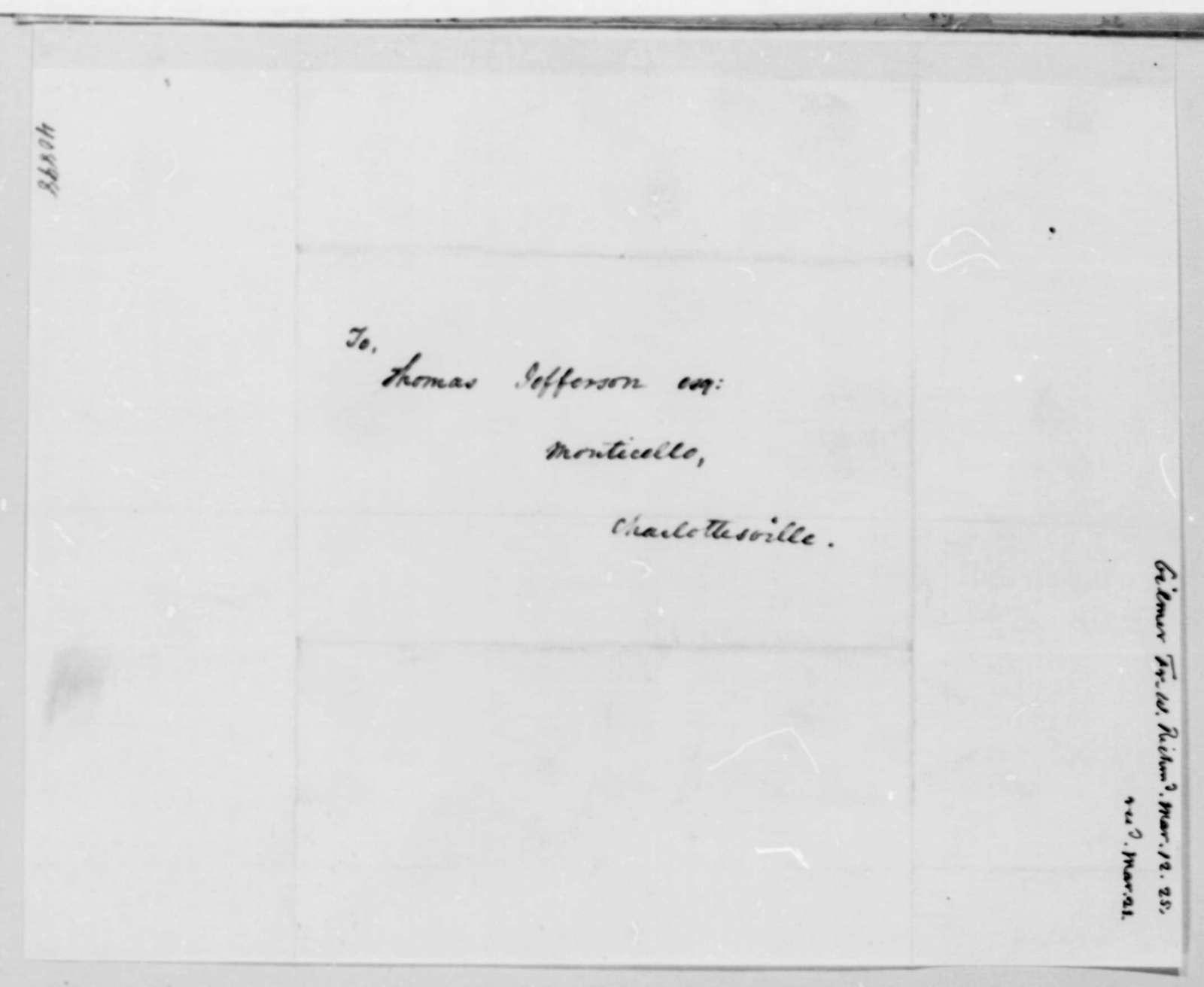 Francis W. Gilmer to Thomas Jefferson, March 12, 1825
