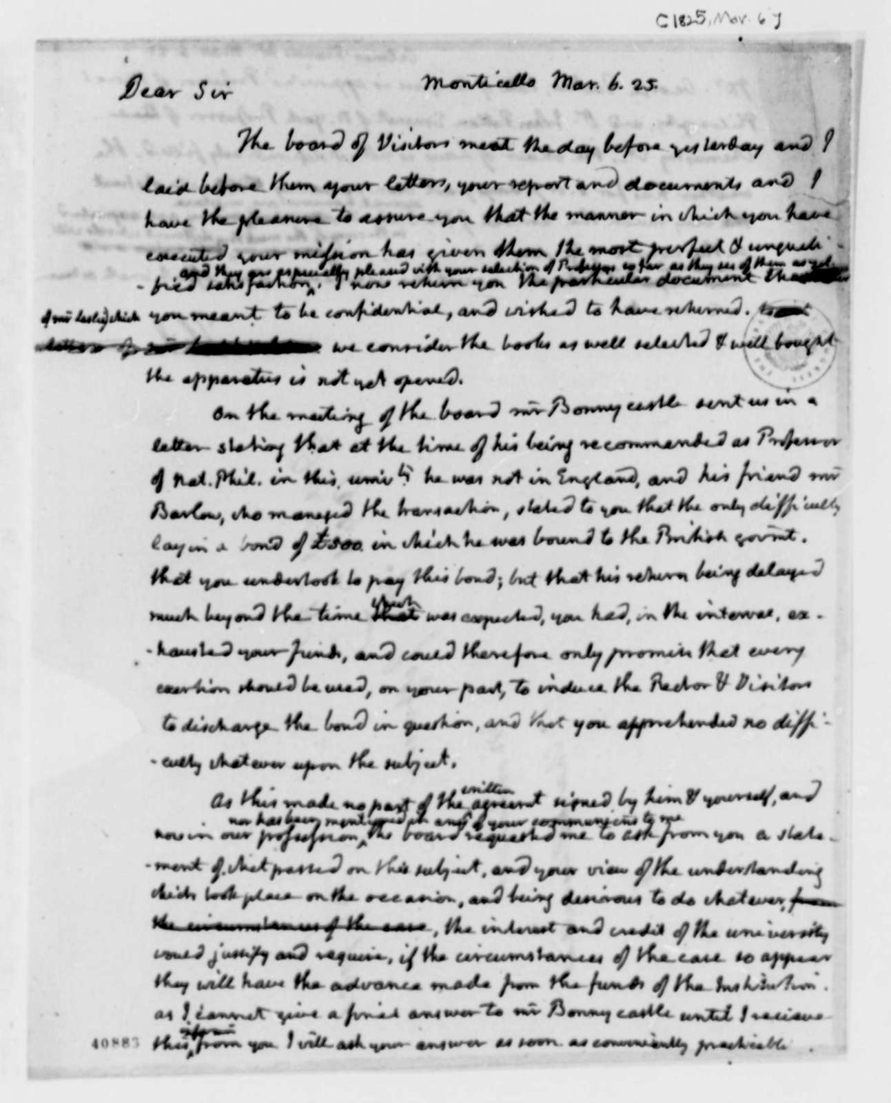Francis W. Gilmer to Thomas Jefferson, March 6, 1825