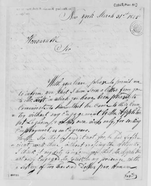 Francis Wittenberg to Thomas Jefferson, March 31, 1825