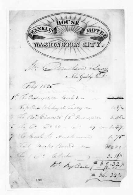 Franklin House Hotel to Andrew Jackson Donelson, February 7, 1825