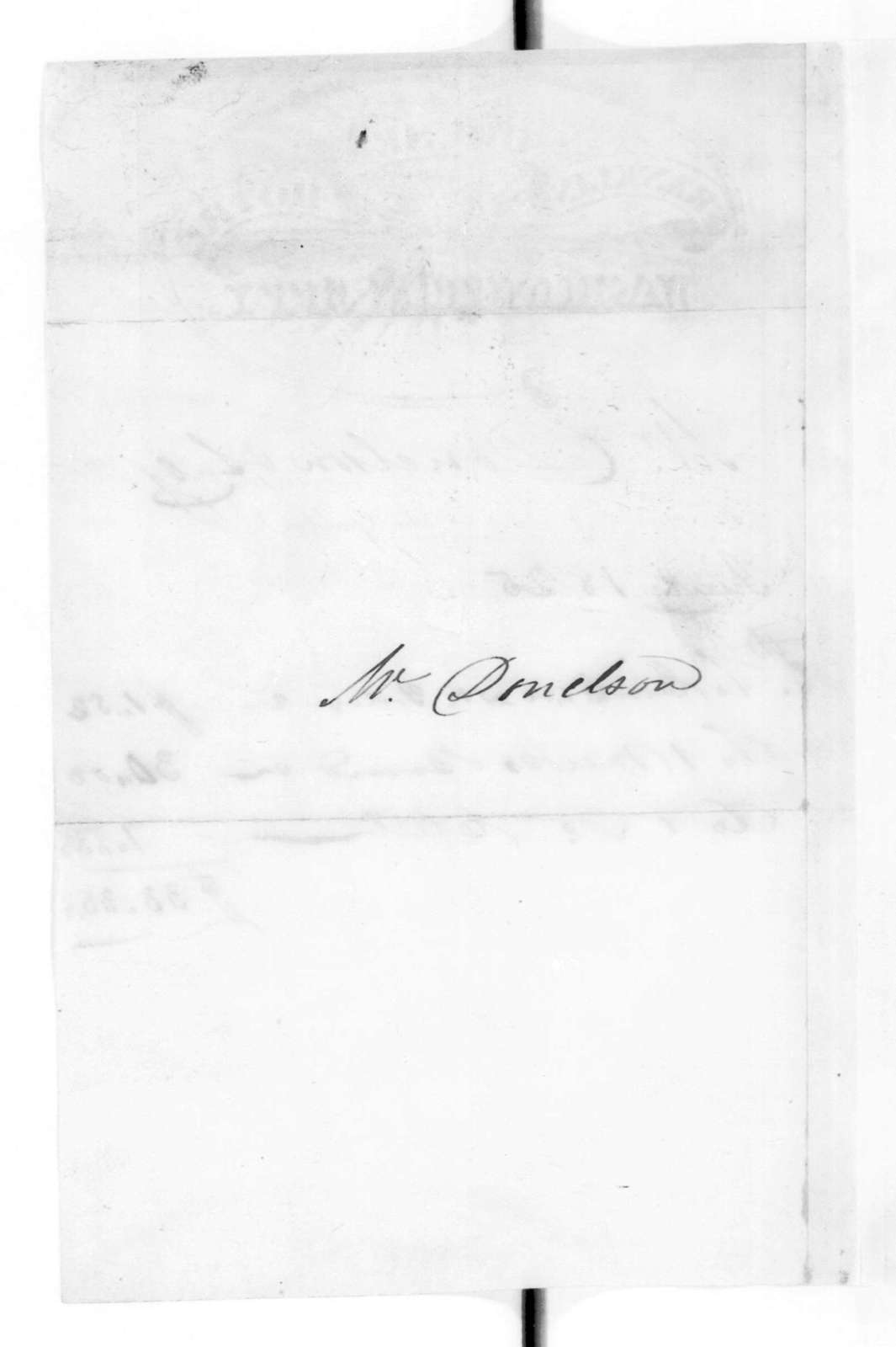 Franklin House Hotel to Andrew Jackson Donelson, January 24, 1825