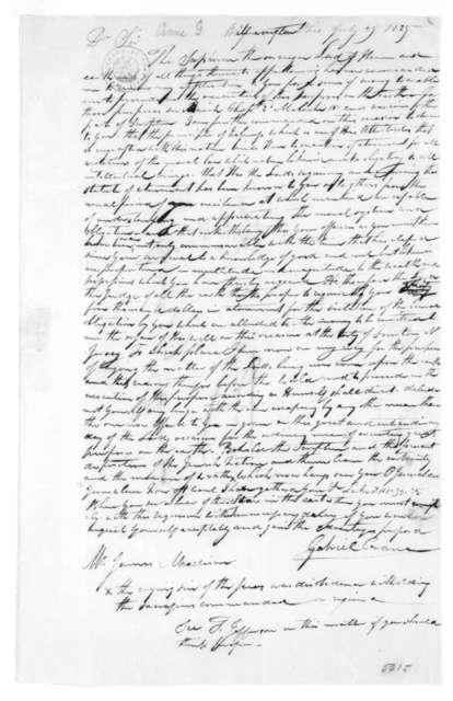 Gabriel Crane to James Madison, July 25, 1825.