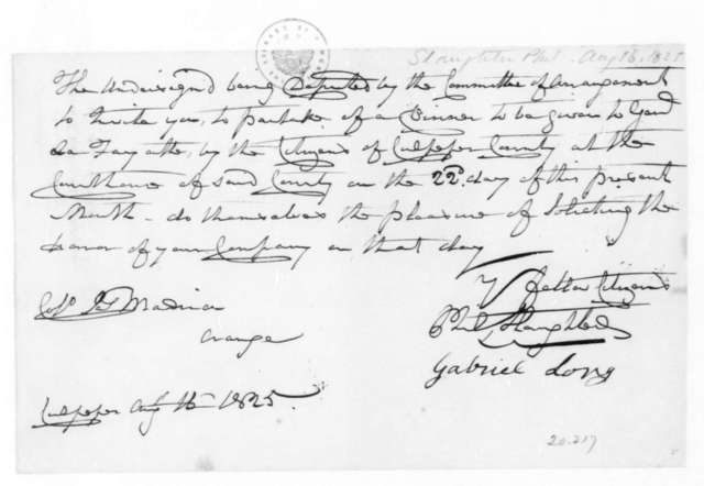 Gabriel Long to James Madison, August 16, 1825. Also addressed to Phil Slaughter.