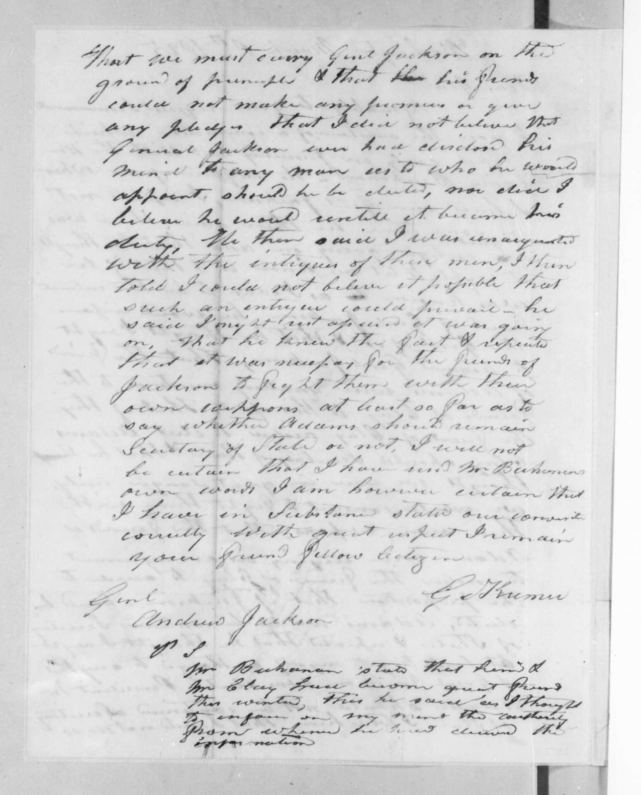 George Kremer to Andrew Jackson, March 8, 1825