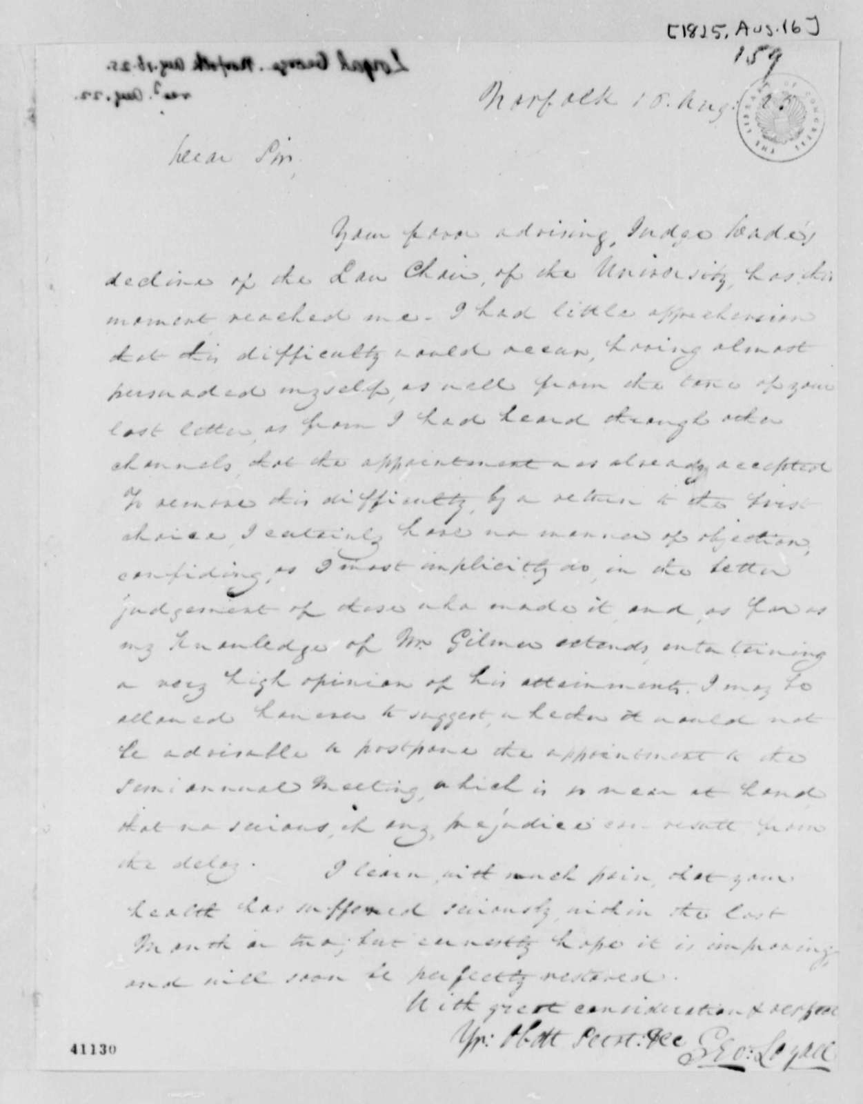 George Loyall to Thomas Jefferson, August 16, 1825