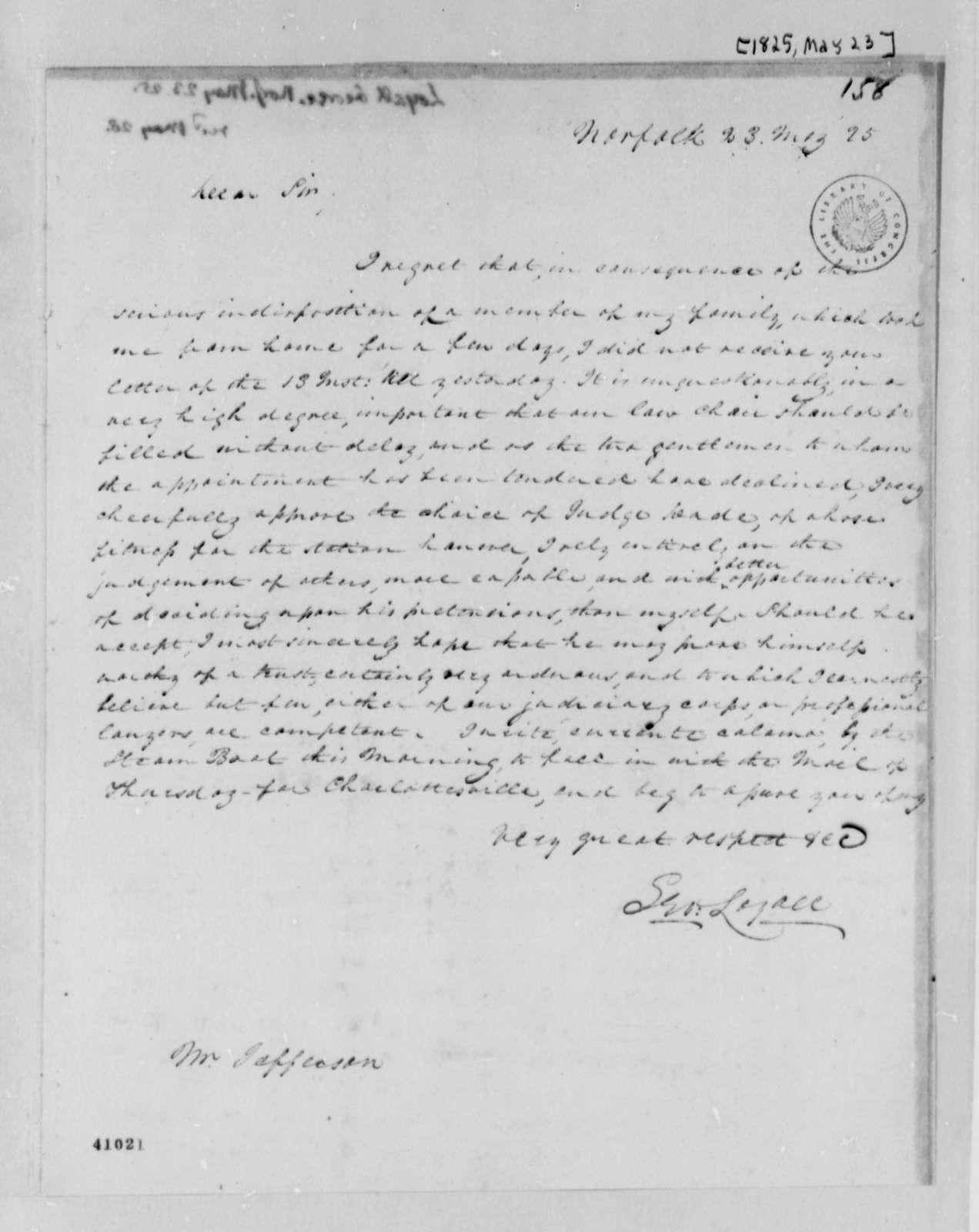 George Loyall to Thomas Jefferson, May 23, 1825