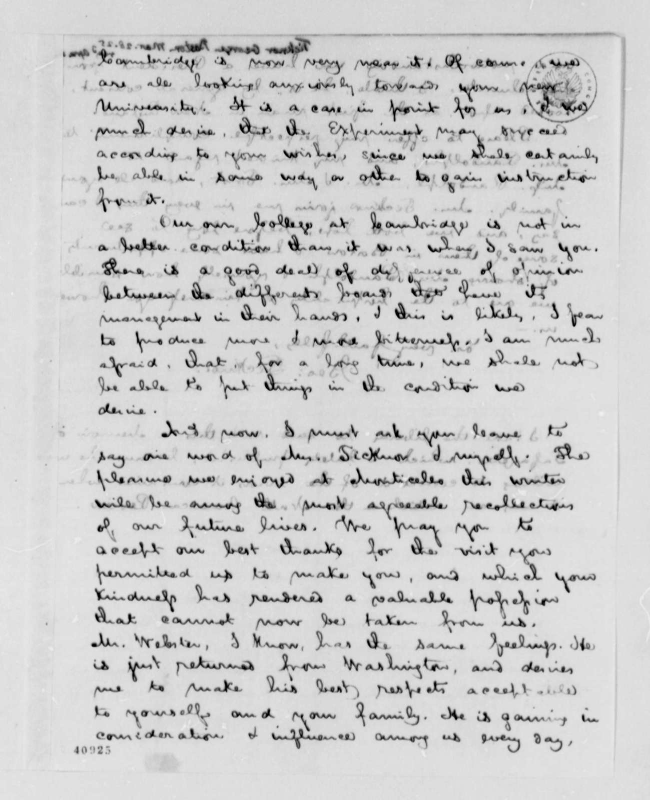 George Ticknor to Thomas Jefferson, March 28, 1825