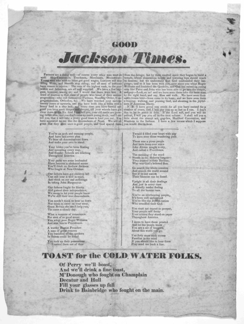 Good Jackson Times. Farmers are doing well- of course every other man must do well. ... [Two columns of verse] [1825?].