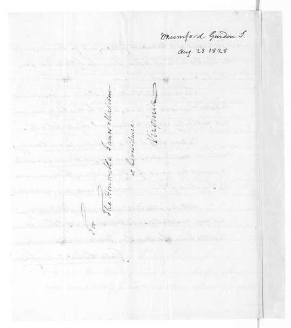 Gordon S. Mumford to James Madison, August 23, 1825.
