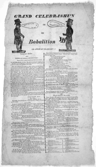 Grand celebrashun ob fe bobalition ob African slabery!!!. [Cuts] Boston 1825.