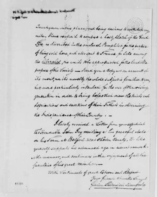 Gurdon S. Mumford to Thomas Jefferson, August 8, 1825, with Memorandum